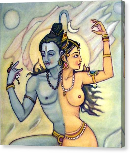 Shiva-shakti Or  Soul-nature Canvas Print by Upendra Ratra