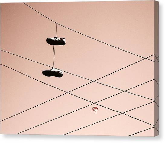 Shoes On A Wire Canvas Print