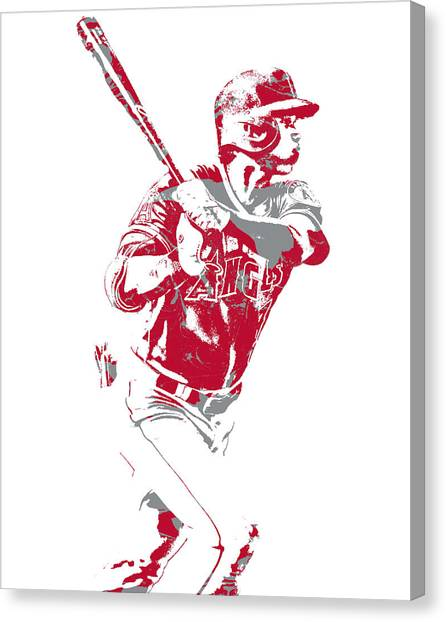 Los Angeles Angels Canvas Print - Shohei Ohtani Los Angeles Angels Pixel Art 2 by Joe Hamilton