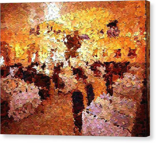 Shoppers In The Gallery Canvas Print by Don Phillips