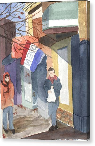 Shopping On Exchange Street Canvas Print by Jane Croteau