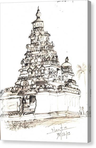 Shore Temple  Canvas Print by KaramChand Nanta