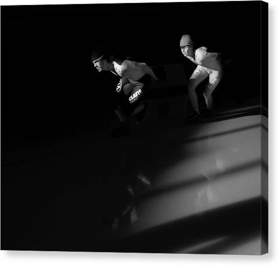 Speed Skating Canvas Print - Long Track 2 by Jim Sawers