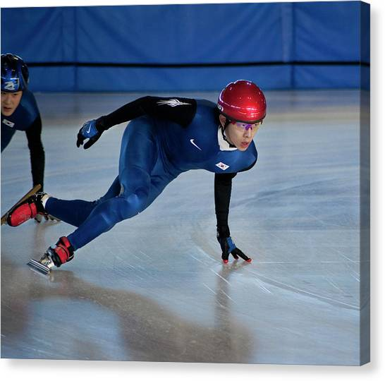 Speed Skating Canvas Print - Shorttrack4 by Jim Sawers
