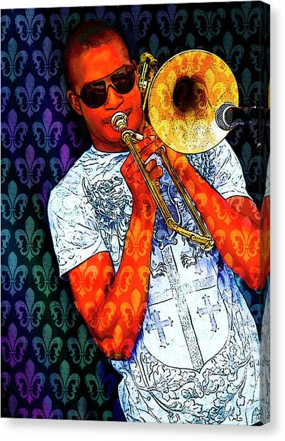 Trombones Canvas Print - Shorty by Tammy Wetzel