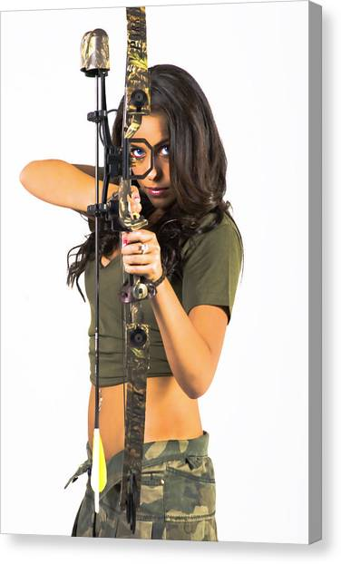 Green Camo Canvas Print - Shot To The Heart by Tom Miles