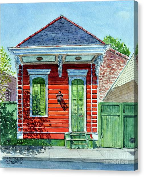Shotguns Canvas Print - Shotgun House, New Orleans   Watercolor by Anthony Butera