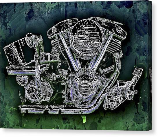 Canvas Print featuring the mixed media Harley - Davidson Shovelhead Engine by Al Matra