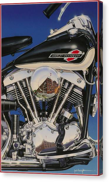 Shovelhead Motor Canvas Print by Jack Knight