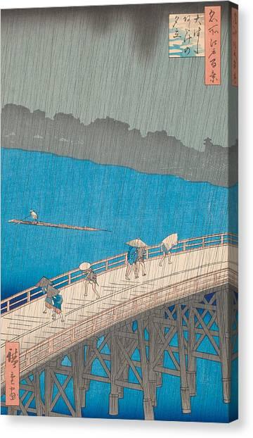 Japanese Umbrella Canvas Print - Shower Over Ohashi Bridge by Hiroshige