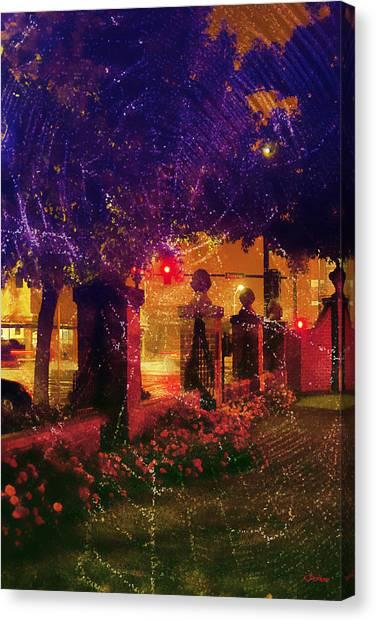 Showery Night On The Corner Canvas Print
