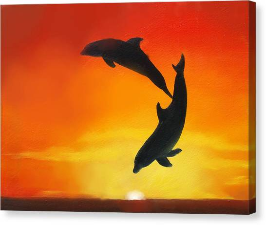 Dolphins Canvas Print - Showing Off by Darlene Green
