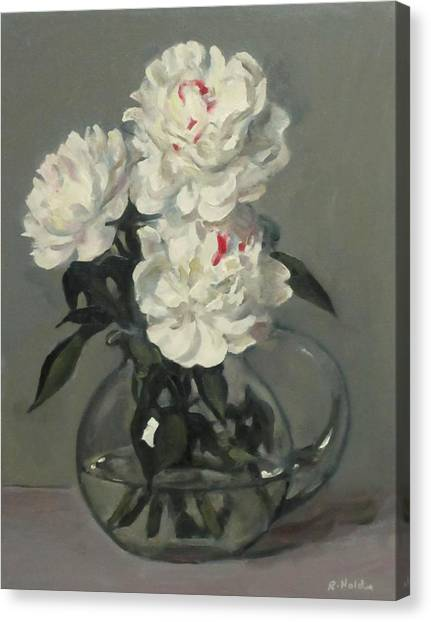 Showy White Peonies In Glass Pitcher Canvas Print