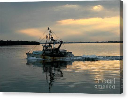 Shrimp Boat At Sunset Canvas Print