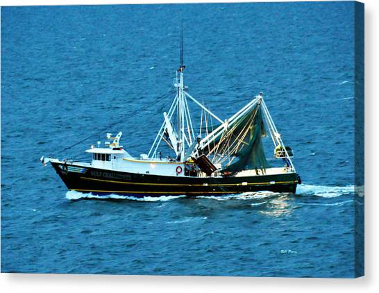 Shrimp Boat In The Gulf Canvas Print by Bill Perry