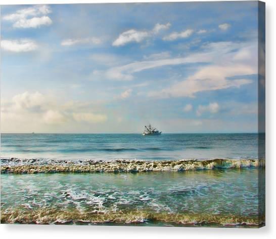 Shrimping Canvas Print - Shrimp Boat Off Kiawah by Amy Tyler