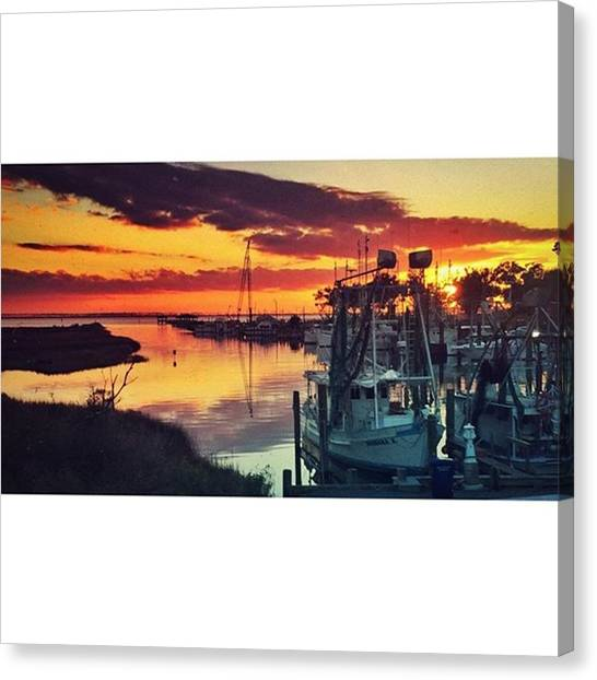 Harbors Canvas Print - Shrimp Boat Sunset #boats #harbor by Joan McCool