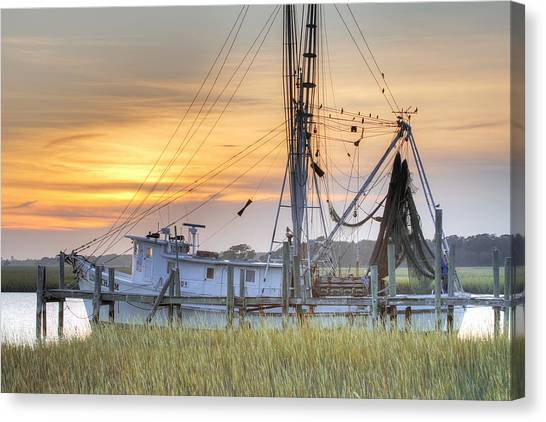 Shrimping Canvas Print - Shrimp Boat Sunset Charleston Sc by Dustin K Ryan