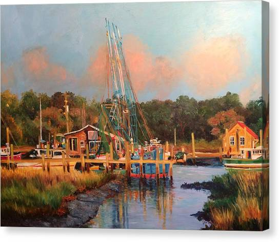 University Of South Carolina Canvas Print - Shrimp Boats At Rest by Kathy Seay