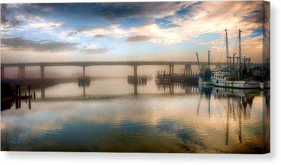 Shrimp Boats At Sunrise Canvas Print