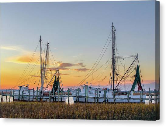 Shrimping Canvas Print - Shrimp Boats by Drew Castelhano