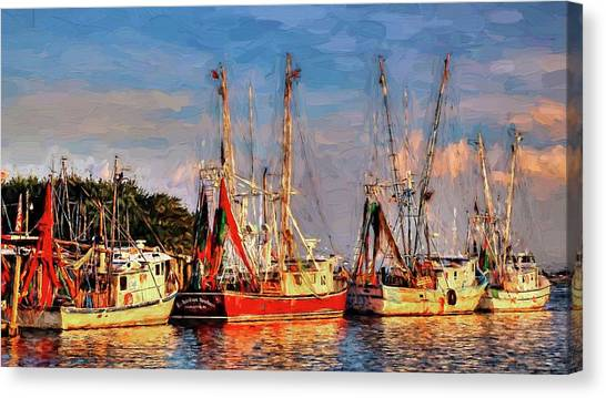 Shem Creek Canvas Print - Shrimp Boats Shem Creek In Mt. Pleasant  South Carolina Sunset by Carol R Montoya