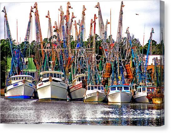 Shrimping Canvas Print - Shrimp Fleet by Joe Benton