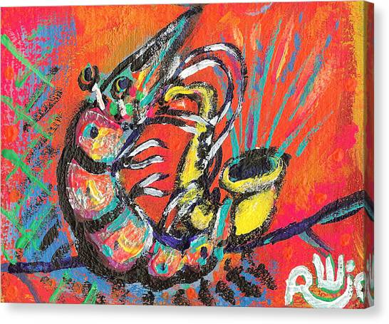 Shrimp On Sax Canvas Print
