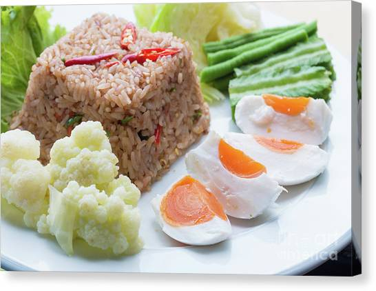 Local Food Canvas Print - Shrimp Paste Fried Rice by Atiketta Sangasaeng