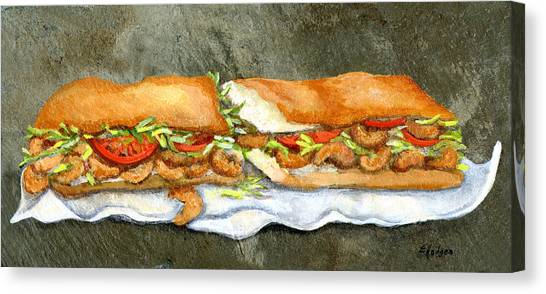 Shrimping Canvas Print - Shrimp Po Boy by Elaine Hodges