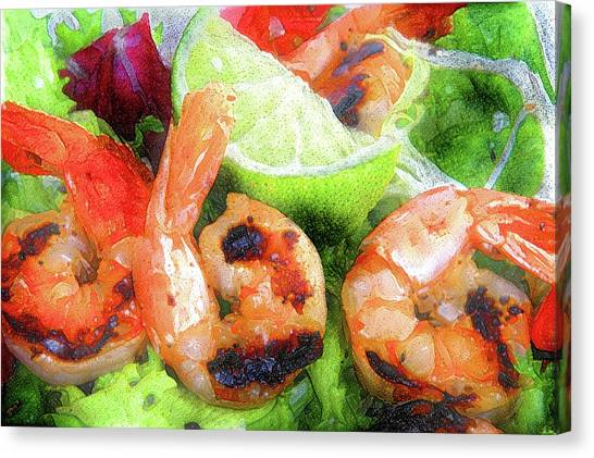 Shrimping Canvas Print - Shrimp Salad by ArtMarketJapan