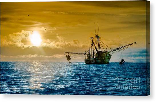 Shrimp Trawler At Dawn Canvas Print