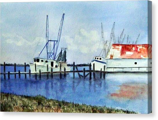 Shrimpboats At Dock Canvas Print by Carol Sprovtsoff