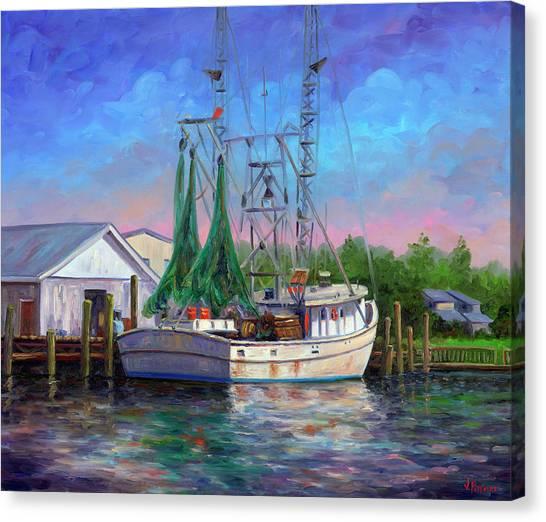 Shrimper At Harbor Canvas Print by Jeff Pittman