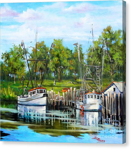 Bayous Canvas Print - Shrimping Boats by Dianne Parks
