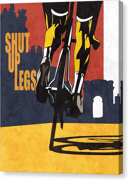Canvas Print featuring the painting Shut Up Legs Tour De France Poster by Sassan Filsoof