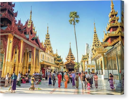 Shwedagon Pagoda Canvas Print by Louise Poggianti