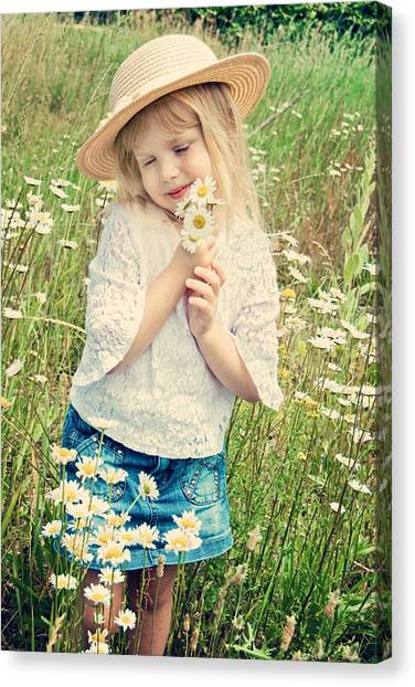 Shy Child Canvas Print by Maria Dryfhout