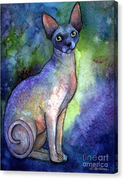 Sphynx Cats Canvas Print - Shynx Cat 2 Painting by Svetlana Novikova