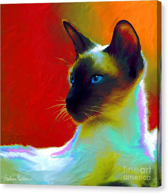Siamese Canvas Print - Siamese Cat 10 Painting by Svetlana Novikova