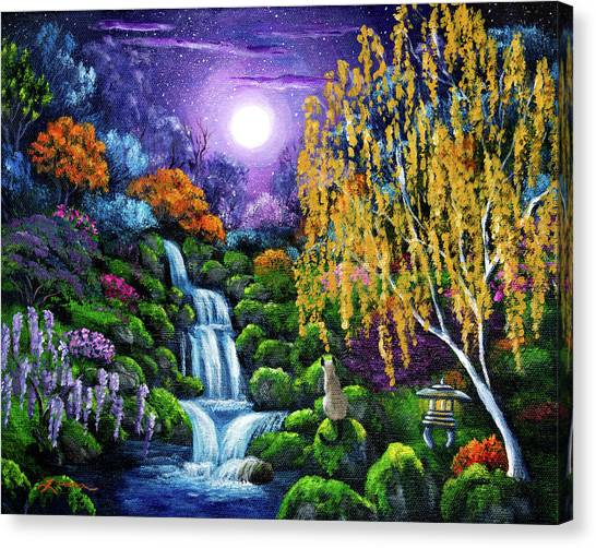 Siamese Canvas Print - Siamese Cat By A Cascading Waterfall by Laura Iverson