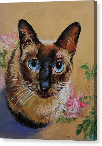 Siamese Canvas Print - Siamese Cat by Michael Creese