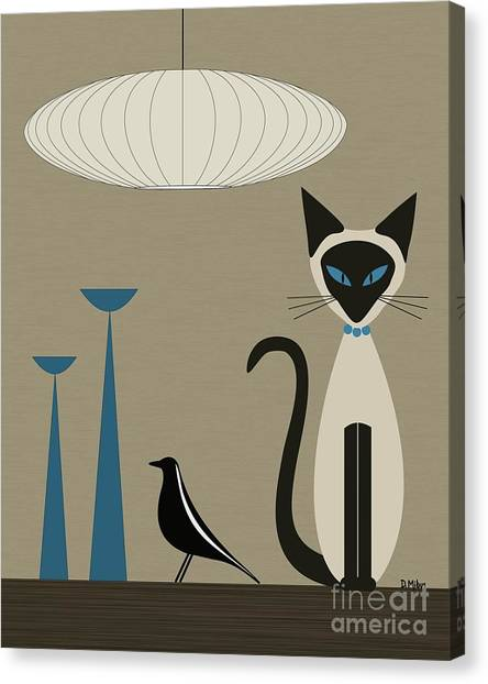 Siamese Canvas Print - Siamese Cat With Eames House Bird by Donna Mibus
