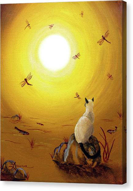 Siamese Canvas Print - Siamese Cat With Red Dragonflies by Laura Iverson