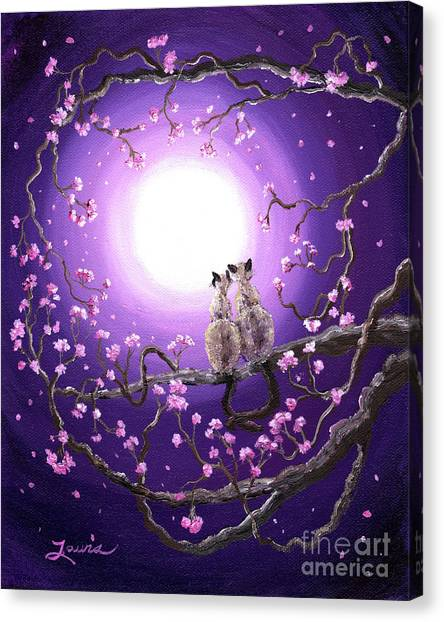 Siamese Canvas Print - Siamese Cats In Pink Blossoms by Laura Iverson