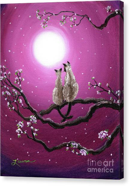 Siamese Canvas Print - Siamese Cats In Spring Blossoms by Laura Iverson
