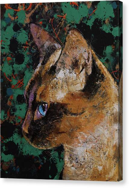 Siamese Canvas Print - Siamese Portrait by Michael Creese