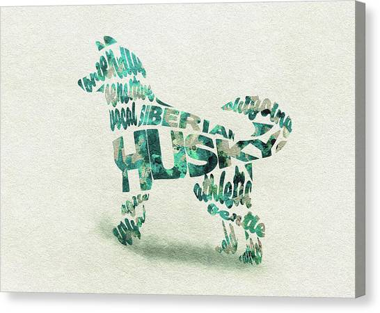 Siberian Canvas Print - Siberian Husky Watercolor Painting / Typographic Art by Inspirowl Design