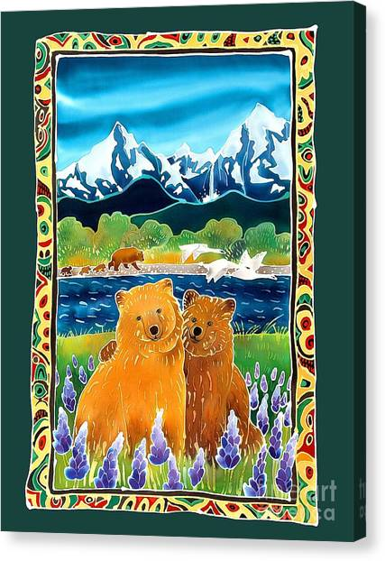 Sibling Bears Of Katmai Canvas Print by Harriet Peck Taylor