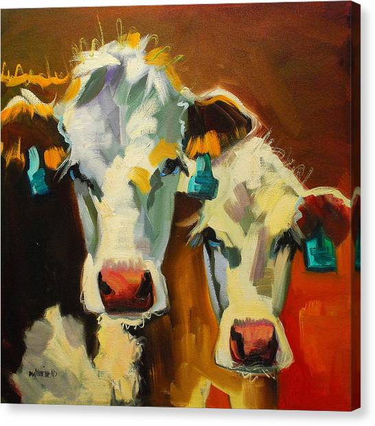 Cow Canvas Print - Sibling Cows by Diane Whitehead